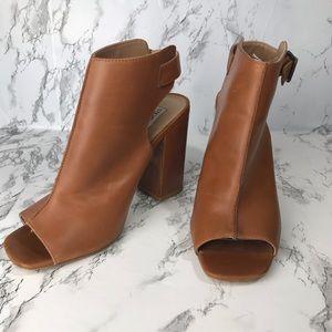 Steve Madden Cognac Leather Peep-Toe Booties